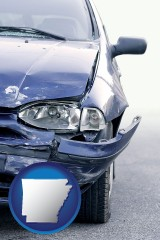 ar map icon and an automobile accident, hopefully covered by insurance