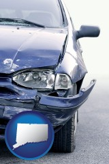 ct map icon and an automobile accident, hopefully covered by insurance