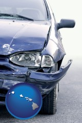 hawaii map icon and an automobile accident, hopefully covered by insurance