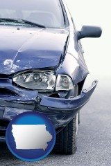 iowa map icon and an automobile accident, hopefully covered by insurance