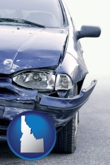 id map icon and an automobile accident, hopefully covered by insurance