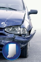 in an automobile accident, hopefully covered by insurance