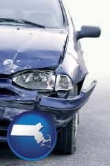 massachusetts map icon and an automobile accident, hopefully covered by insurance