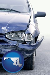 md map icon and an automobile accident, hopefully covered by insurance