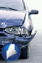 me map icon and an automobile accident, hopefully covered by insurance