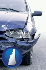 nh map icon and an automobile accident, hopefully covered by insurance