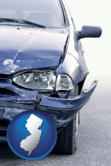 nj map icon and an automobile accident, hopefully covered by insurance
