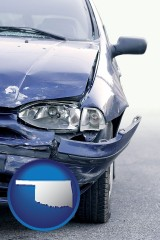 ok map icon and an automobile accident, hopefully covered by insurance