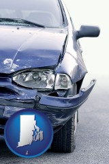 rhode-island map icon and an automobile accident, hopefully covered by insurance