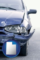 ut map icon and an automobile accident, hopefully covered by insurance