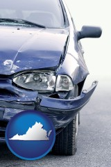 va map icon and an automobile accident, hopefully covered by insurance