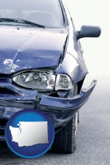 wa map icon and an automobile accident, hopefully covered by insurance