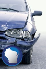 wi map icon and an automobile accident, hopefully covered by insurance