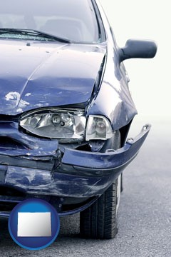 an automobile accident, hopefully covered by insurance - with Colorado icon