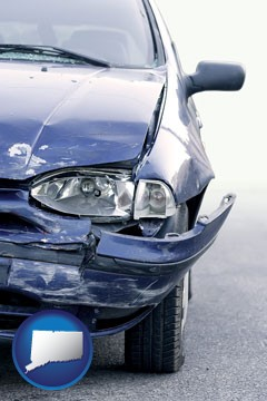 an automobile accident, hopefully covered by insurance - with Connecticut icon