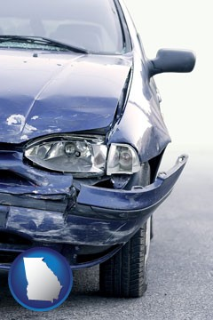an automobile accident, hopefully covered by insurance - with Georgia icon