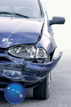 an automobile accident, hopefully covered by insurance - with Hawaii icon