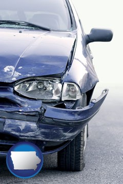 an automobile accident, hopefully covered by insurance - with Iowa icon