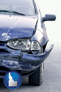 an automobile accident, hopefully covered by insurance - with Idaho icon