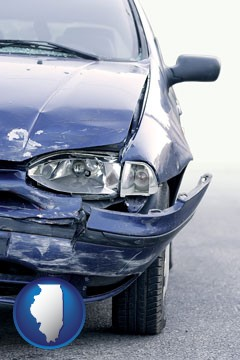 an automobile accident, hopefully covered by insurance - with Illinois icon