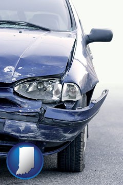 an automobile accident, hopefully covered by insurance - with Indiana icon