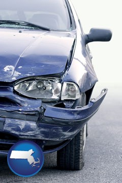 an automobile accident, hopefully covered by insurance - with Massachusetts icon
