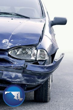 an automobile accident, hopefully covered by insurance - with Maryland icon