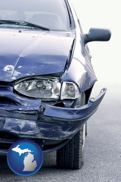 an automobile accident, hopefully covered by insurance - with Michigan icon