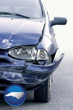 an automobile accident, hopefully covered by insurance - with North Carolina icon