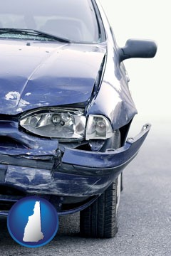an automobile accident, hopefully covered by insurance - with New Hampshire icon