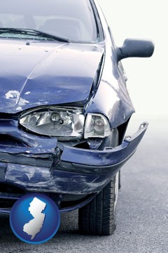 an automobile accident, hopefully covered by insurance - with New Jersey icon