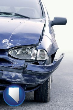 an automobile accident, hopefully covered by insurance - with Nevada icon