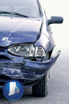an automobile accident, hopefully covered by insurance - with Rhode Island icon
