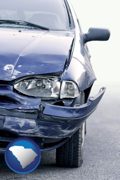 an automobile accident, hopefully covered by insurance - with South Carolina icon