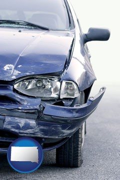 an automobile accident, hopefully covered by insurance - with South Dakota icon
