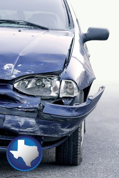 an automobile accident, hopefully covered by insurance - with Texas icon