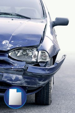 an automobile accident, hopefully covered by insurance - with Utah icon