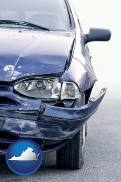 an automobile accident, hopefully covered by insurance - with Virginia icon