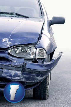 an automobile accident, hopefully covered by insurance - with Vermont icon