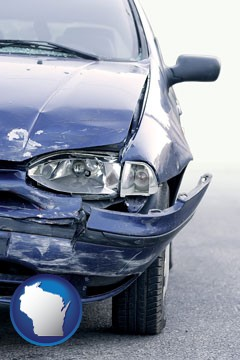 an automobile accident, hopefully covered by insurance - with Wisconsin icon