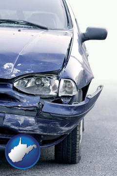 an automobile accident, hopefully covered by insurance - with West Virginia icon