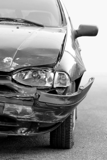 an automobile accident, hopefully covered by insurance