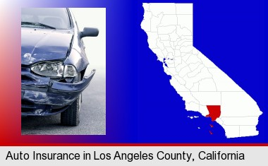 an automobile accident, hopefully covered by insurance; Los Angeles County highlighted in red on a map