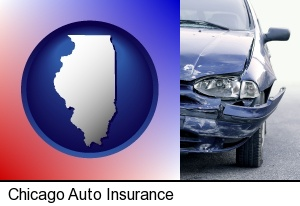 an automobile accident, hopefully covered by insurance in Chicago, IL