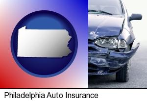 an automobile accident, hopefully covered by insurance in Philadelphia, PA