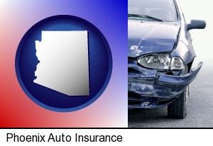 an automobile accident, hopefully covered by insurance in Phoenix, AZ